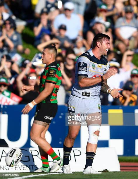 Kyle Feldt of the Cowboys celebrates after scoring a try during the round 19 NRL match between the South Sydney Rabbitohs and the North Queensland...