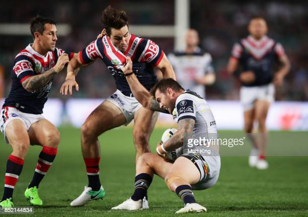 Kyle Feldt of the Cowboys is tackled during the NRL Preliminary Final match between the Sydney Roosters and the North Queensland Cowboys at Allianz...