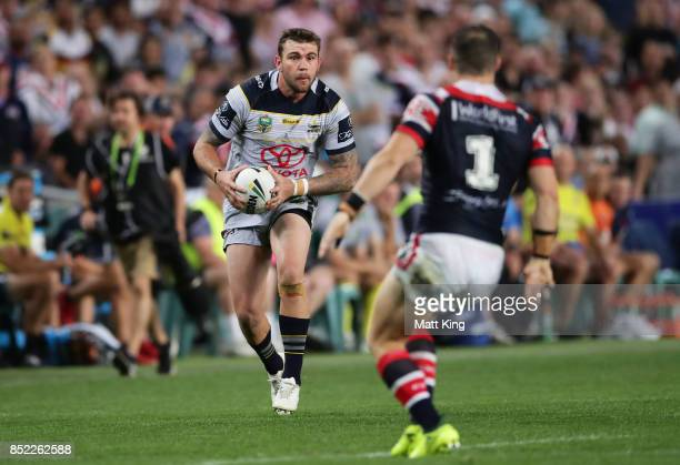 Kyle Feldt of the Cowboys runs at the defence during the NRL Preliminary Final match between the Sydney Roosters and the North Queensland Cowboys at...