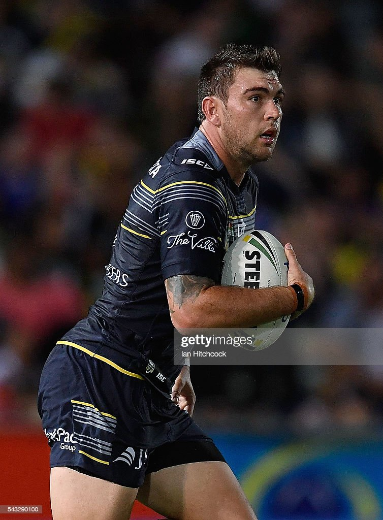 Kyle Feldt of the Cowboys runs the ball during the round 16 NRL match between the North Queensland Cowboys and the Manly Sea Eagles at 1300SMILES Stadium on June 27, 2016 in Townsville, Australia.