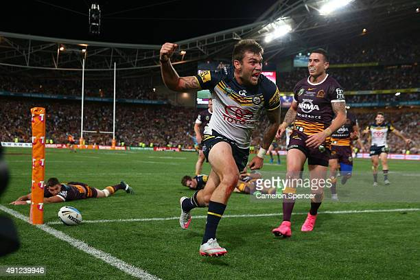 Kyle Feldt of the Cowboys scores a try during the 2015 NRL Grand Final match between the Brisbane Broncos and the North Queensland Cowboys at ANZ...