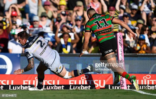 Kyle Feldt of the Cowboys scores a try during the round 19 NRL match between the South Sydney Rabbitohs and the North Queensland Cowboys at Barlow...