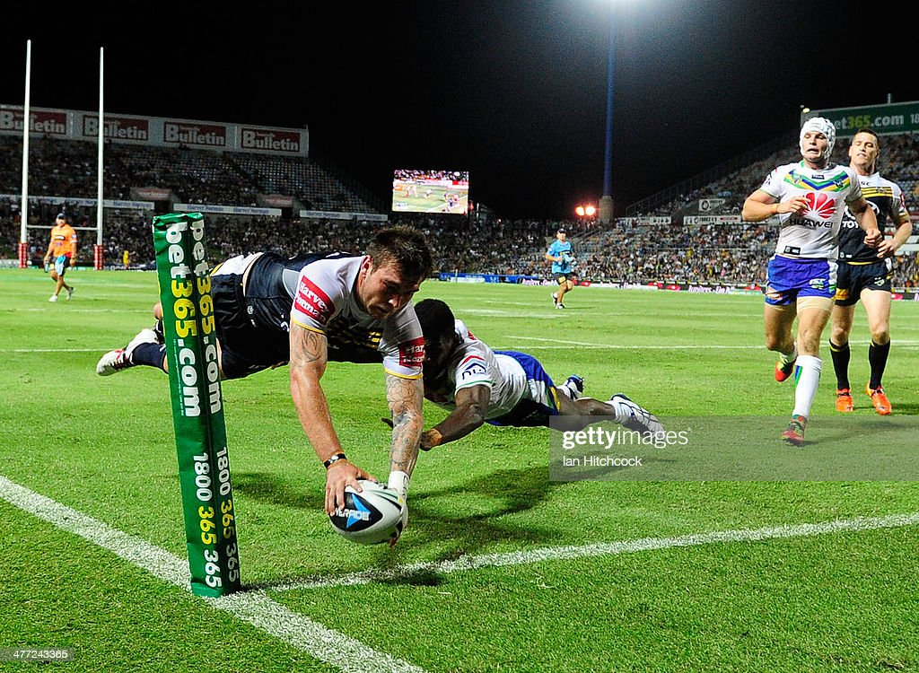 Kyle Feldt of the Cowboys scores a try during the round one NRL match between the North Queensland Cowboys and the Canberra Raiders at 1300SMILES...