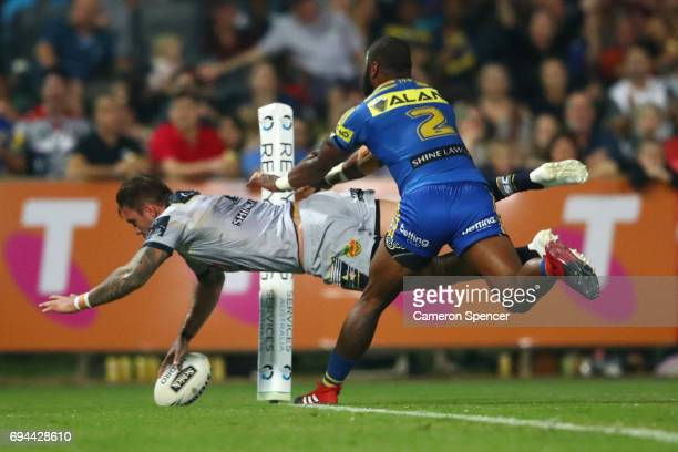 Kyle Feldt of the Cowboys scors a try for the Cowboys during the round 14 NRL match between the Parramatta Eels and the North Queensland Cowboys at...