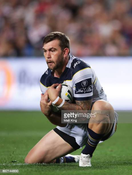 Kyle Feldt of the Cowboys takes a high ball during the NRL Preliminary Final match between the Sydney Roosters and the North Queensland Cowboys at...