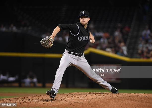 Kyle Freeland of the Colorado Rockies delivers a first inning pitch against the Arizona Diamondbacks at Chase Field on April 28 2017 in Phoenix...