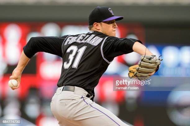 Kyle Freeland of the Colorado Rockies delivers a pitch against the Minnesota Twins during the game on May 16 2017 at Target Field in Minneapolis...