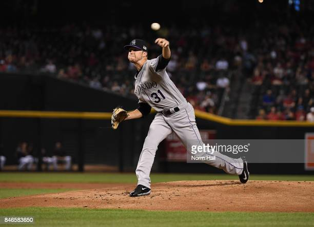 Kyle Freeland of the Colorado Rockies delivers a pitch against the Arizona Diamondbacks at Chase Field on September 11 2017 in Phoenix Arizona
