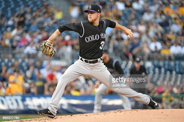 Kyle Freeland of the Colorado Rockies delivers a pitch in the first inning during the game against the Pittsburgh Pirates at PNC Park on June 12 2017...