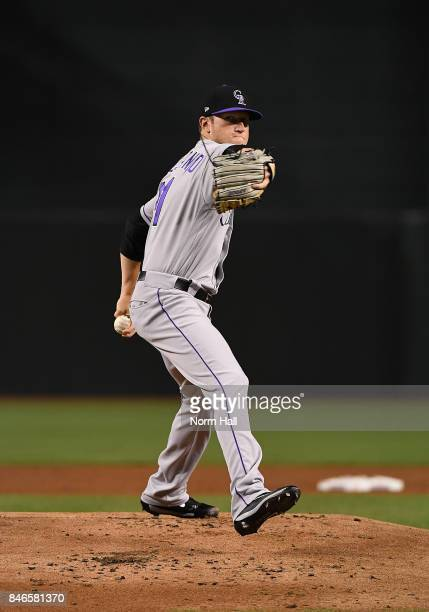 Kyle Freeland of the Colorado Rockies delivers a warm up pitch against the Arizona Diamondbacks at Chase Field on September 11 2017 in Phoenix Arizona