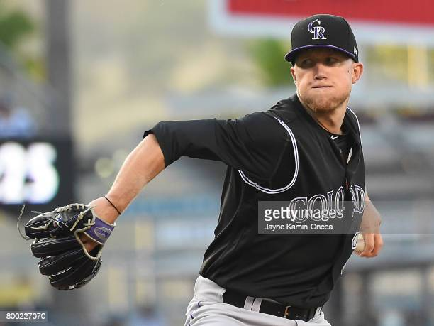 Kyle Freeland of the Colorado Rockies in the first inning of the game against the Los Angeles Dodgers at Dodger Stadium on June 23 2017 in Los...