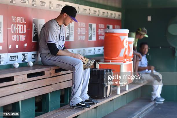 Kyle Freeland of the Colorado Rockies looks on before game one of a doubleheader baseball game against the Washington Nationals at Nationals Park on...
