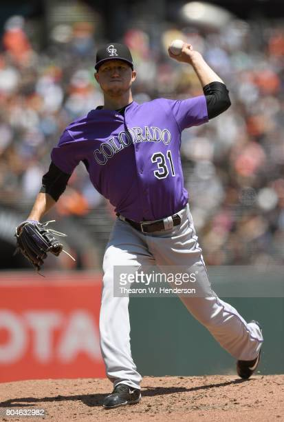 Kyle Freeland of the Colorado Rockies pitches against the San Francisco Giants in the bottom of the second inning at ATT Park on June 28 2017 in San...