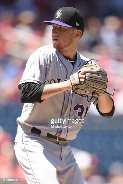 Kyle Freeland of the Colorado Rockies pitches during game one of a doubleheader baseball game against the Washington Nationals at Nationals Park on...