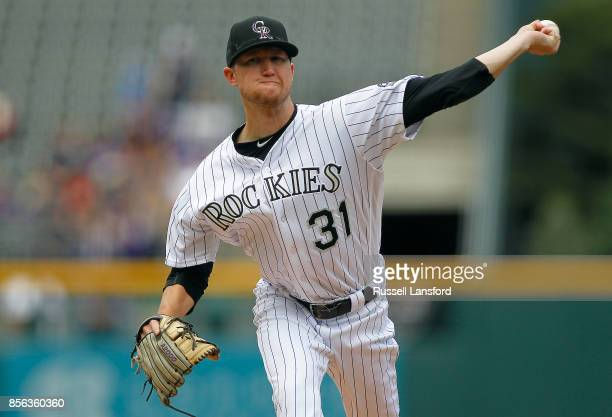 Kyle Freeland of the Colorado Rockies pitches during the first inning of a regular season MLB game against the Los Angeles Dodgers at Coors Field on...
