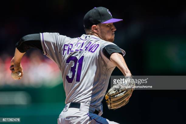 Kyle Freeland of the Colorado Rockies pitches during the game against the Washington Nationals at Nationals Park on July 30 2017 in Washington DC