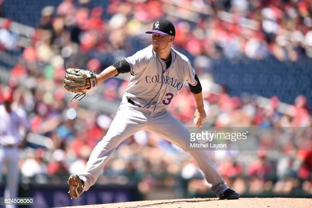 Kyle Freeland of the Colorado Rockies pitches in the second inning during game one of a doubleheader against the Washington Nationals at Nationals...