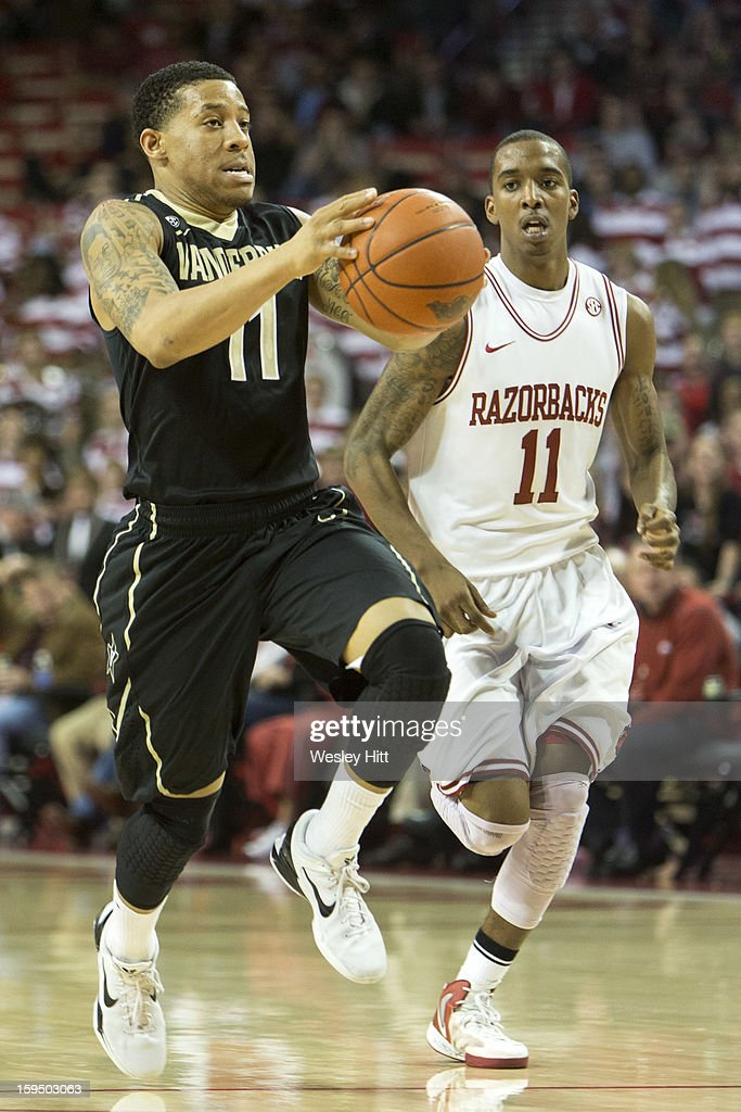 Kyle Fuller #11 of the Vanderbilt Commodores signals gets ready for a layup during a game against the Arkansas Razorbacks at Bud Walton Arena on January12, 2013 in Fayetteville, Arkansas. The Razorbacks defeated the Commodores 56-33.