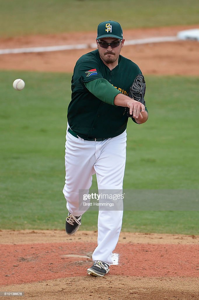 Kyle Gaddin of South Africa throws the ball to first base during the World baseball Classic Final match between Australia and South Africa at Blacktown International Sportspark on February 14, 2016 in Sydney, Australia.