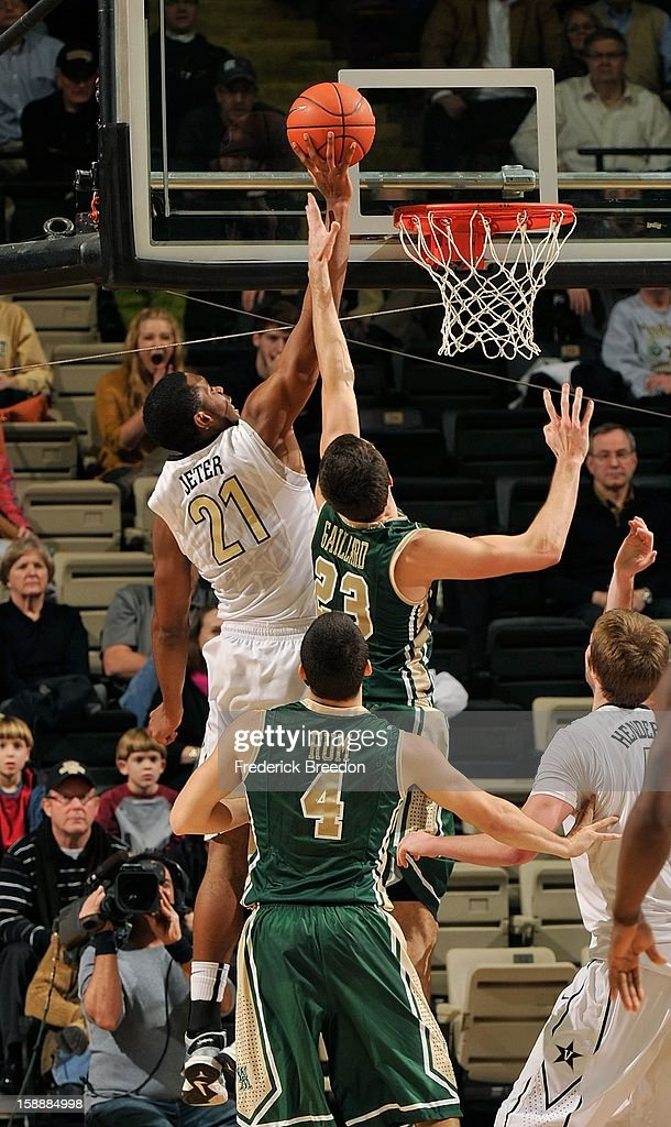 Kyle Gaillard #23 of William & Mary tries to block a shot by Sheldon Jeter #21 of the Vanderbilt Commodores at Memorial Gym on January 2, 2013 in Nashville, Tennessee.