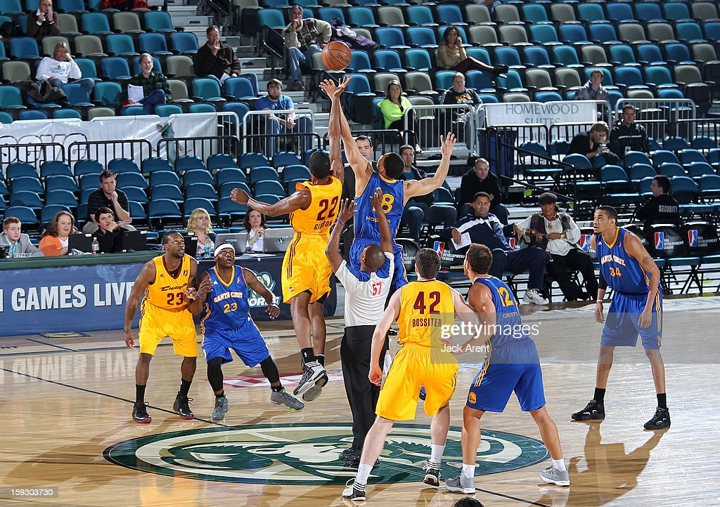 Kyle Gibson #22 of the Canton Charge jumps for the opening tip along with Darington Hobson #18 of the Santa Cruz Warriors during the 2013 NBA D-League Showcase on January 10, 2013 at the Reno Events Center in Reno, Nevada.