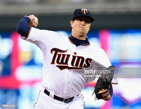 Kyle Gibson of the Minnesota Twins delivers a pitch against the Kansas City Royals during the second inning of the game on April 15 2015 at Target...
