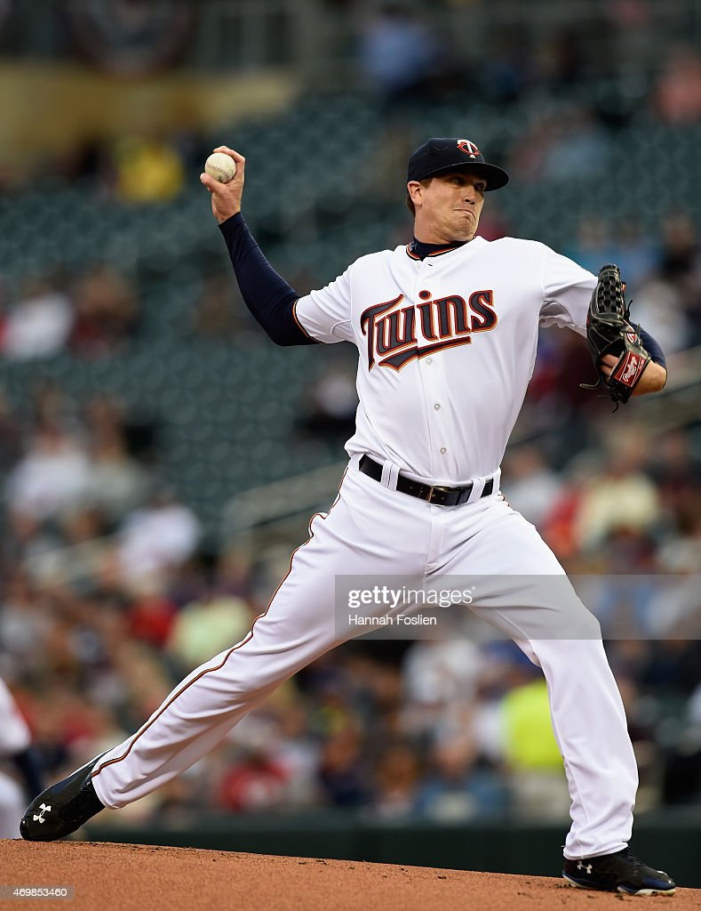Kyle Gibson of the Minnesota Twins delivers a pitch against the Kansas City Royals during the first inning of the game on April 15 2015 at Target...