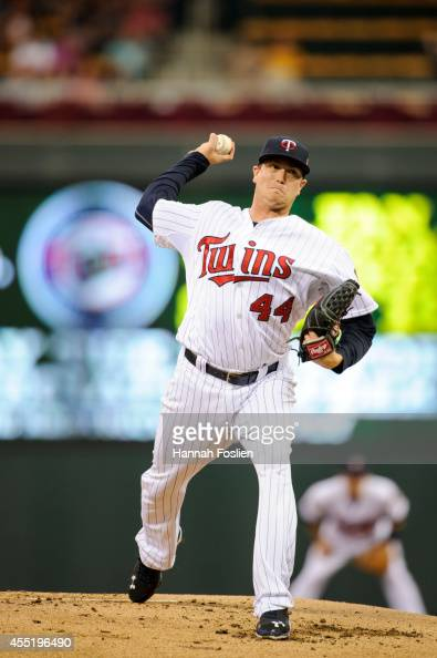 Kyle Gibson of the Minnesota Twins delivers a pitch against the Los Angeles Angels of Anaheim during the game on September 4 2014 at Target Field in...