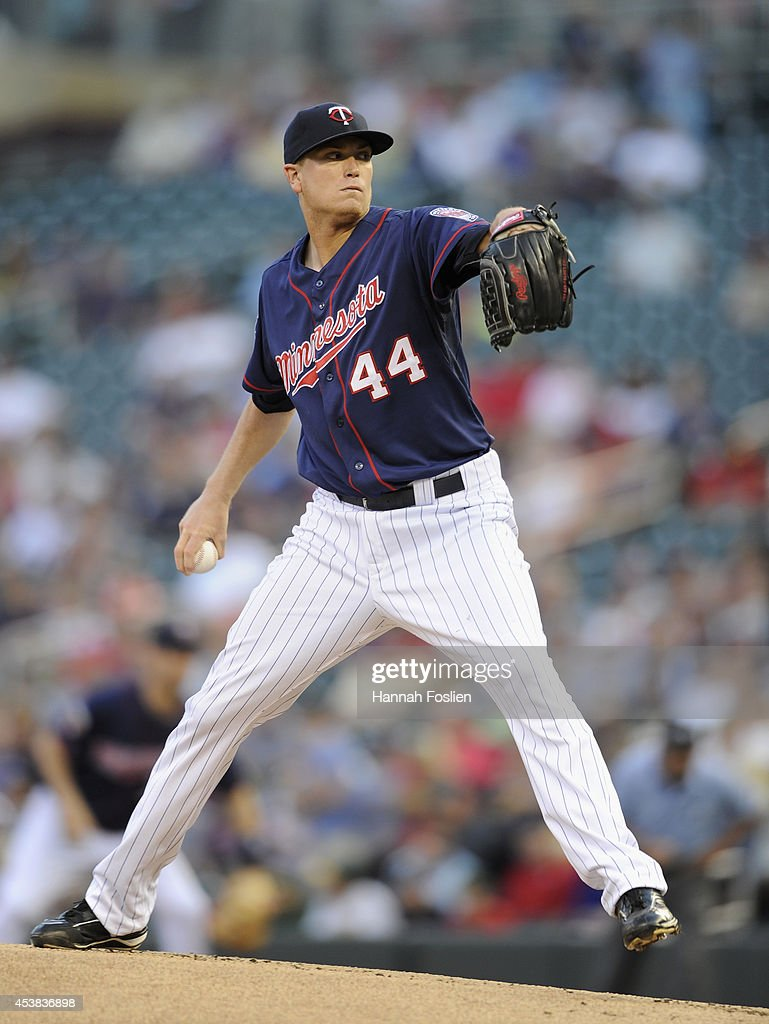 <a gi-track='captionPersonalityLinkClicked' href=/galleries/search?phrase=Kyle+Gibson&family=editorial&specificpeople=5813348 ng-click='$event.stopPropagation()'>Kyle Gibson</a> #44 of the Minnesota Twins delivers a pitch against the Cleveland Indians during the first inning of the game on August 19, 2014 at Target Field in Minneapolis, Minnesota.
