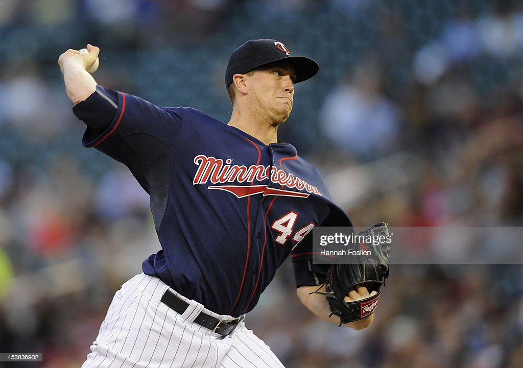 <a gi-track='captionPersonalityLinkClicked' href=/galleries/search?phrase=Kyle+Gibson&family=editorial&specificpeople=5813348 ng-click='$event.stopPropagation()'>Kyle Gibson</a> #44 of the Minnesota Twins delivers a pitch against the Cleveland Indians during the second inning of the game on August 19, 2014 at Target Field in Minneapolis, Minnesota.