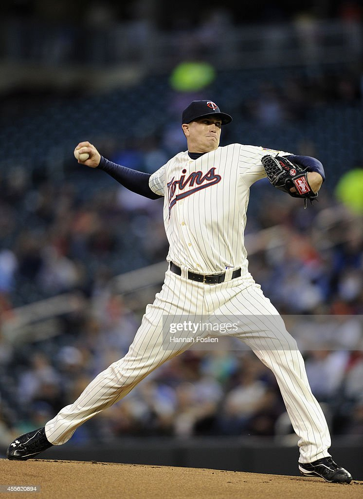 Kyle Gibson of the Minnesota Twins delivers a pitch against the Detroit Tigers during the first inning of the game on September 17 2014 at Target...
