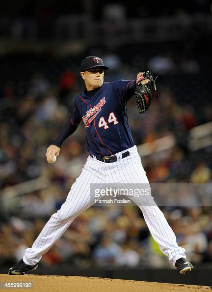 Kyle Gibson of the Minnesota Twins delivers a pitch against the Arizona Diamondbacks during the first inning of the game on September 23 2014 at...