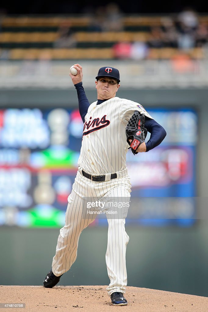 Kyle Gibson of the Minnesota Twins delivers a pitch against the Oakland Athletics during the game on May 6 2015 at Target Field in Minneapolis...