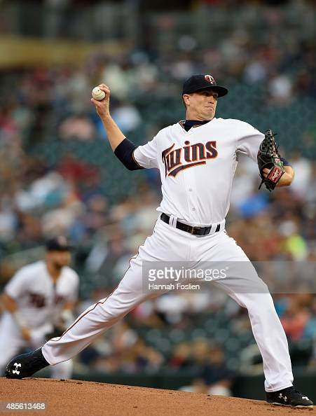 Kyle Gibson of the Minnesota Twins delivers a pitch against the Houston Astros during the first inning of the game on August 28 2015 at Target Field...