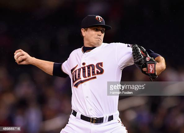 Kyle Gibson of the Minnesota Twins delivers a pitch against the Cleveland Indians during the first inning of the game on September 24 2015 at Target...