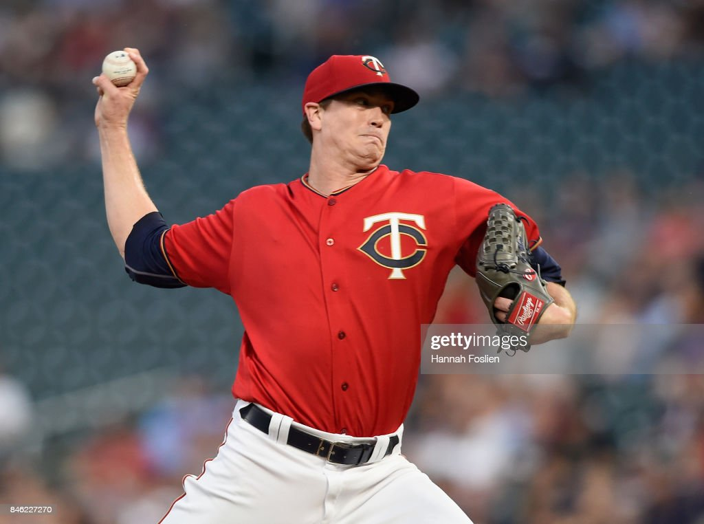 Kyle Gibson #44 of the Minnesota Twins delivers a pitch against the San Diego Padres during the first inning of the game on September 12, 2017 at Target Field in Minneapolis, Minnesota.