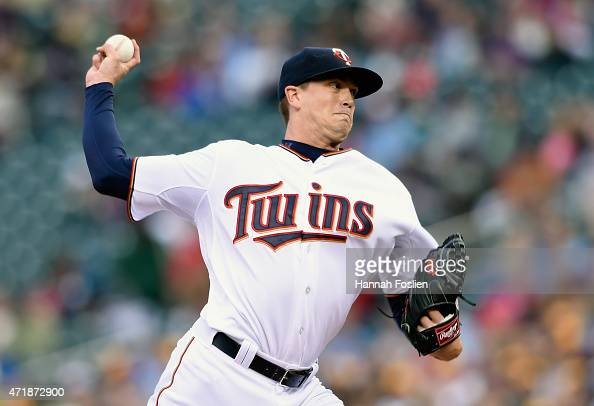 Kyle Gibson of the Minnesota Twins delivers a pitch against the Chicago White Sox during the first inning of the game on May 1 2015 at Target Field...