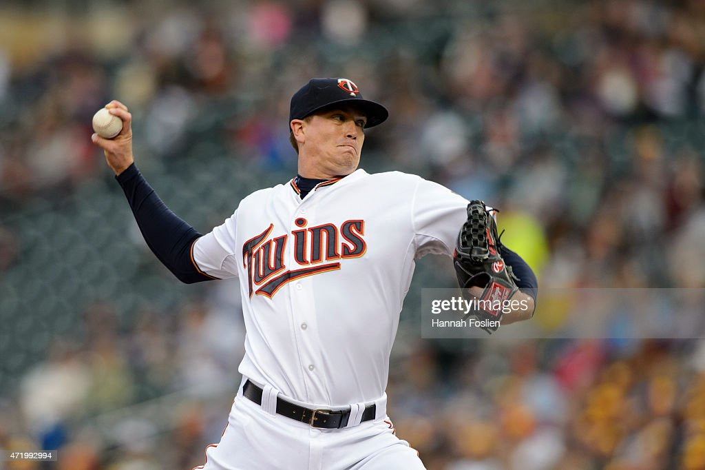 Kyle Gibson of the Minnesota Twins delivers a pitch against the Chicago White Sox during the game on May 1 2015 at Target Field in Minneapolis...