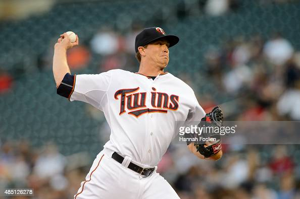 Kyle Gibson of the Minnesota Twins delivers a pitch against the Texas Rangers during the game on August 11 2015 at Target Field in Minneapolis...