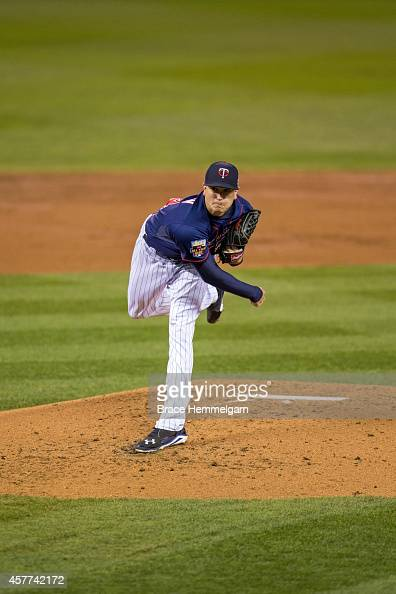 Kyle Gibson of the Minnesota Twins pitches against the Arizona Diamondbacks on September 23 2014 at Target Field in Minneapolis Minnesota The Twins...