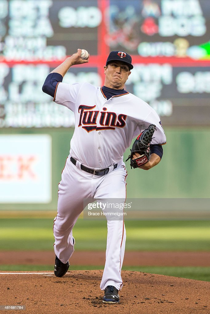 Kyle Gibson of the Minnesota Twins pitches against the Baltimore Orioles on July 7 2015 at Target Field in Minneapolis Minnesota The Twins defeated...