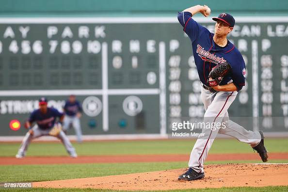 Kyle Gibson of the Minnesota Twins pitches against the Boston Red Sox during the first inning at Fenway Park on July 22 2016 in Boston Massachusetts