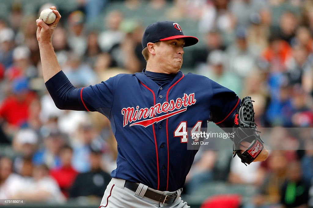 Kyle Gibson of the Minnesota Twins pitches against the Chicago White Sox during the first inning on May 24 2015 at US Cellular Field in Chicago...