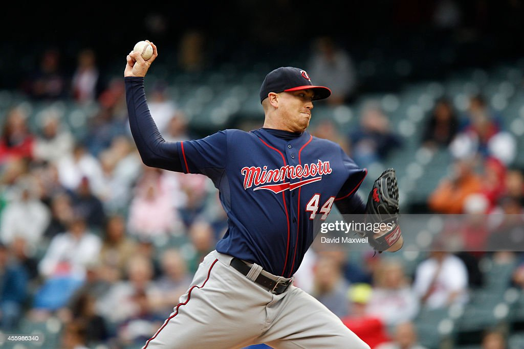 Kyle Gibson of the Minnesota Twins pitches against the Cleveland Indians during the first inning of their game on September 11 2014 at Progressive...