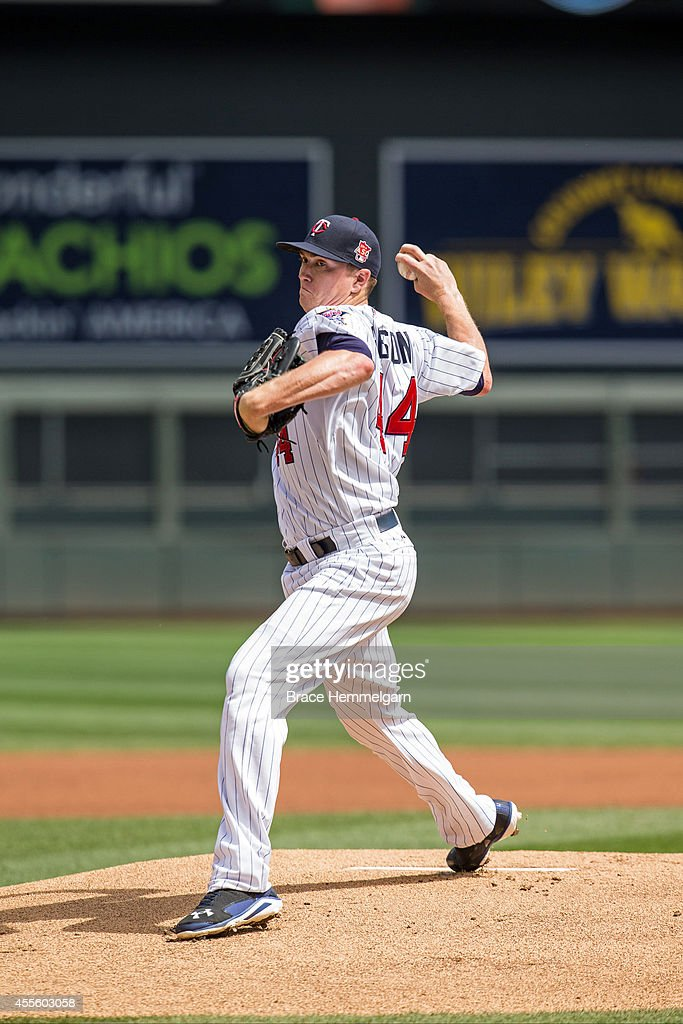 Kyle Gibson of the Minnesota Twins pitches against the Detroit Tigers on August 24 2014 at Target Field in Minneapolis Minnesota The Tigers defeated...