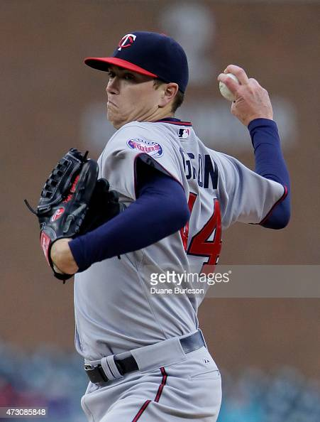Kyle Gibson of the Minnesota Twins pitches against the Detroit Tigers during the first inning at Comerica Park on May 12 2015 in Detroit Michigan