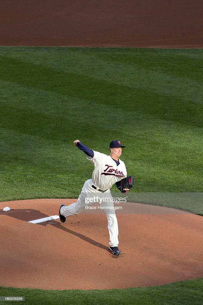 Kyle Gibson #44 of the Minnesota Twins pitches against the Houston Astros on August 3, 2013 at Target Field in Minneapolis, Minnesota. The Twins defeated the Astros 6-4.