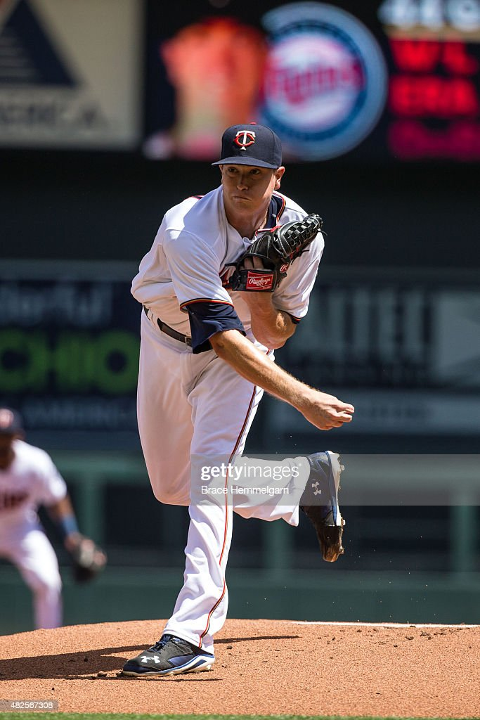 Kyle Gibson of the Minnesota Twins pitches against the New York Yankees on July 26 2015 at Target Field in Minneapolis Minnesota The Yankees defeated...