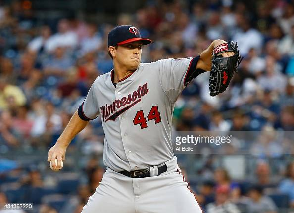 Kyle Gibson of the Minnesota Twins pitches against the New York Yankees during their game at Yankee Stadium on August 17 2015 in New York City
