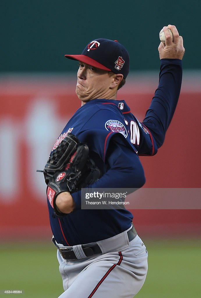 Kyle Gibson of the Minnesota Twins pitches against the Oakland Athletics in the bottom of the first inning at Oco Coliseum on August 8 2014 in...